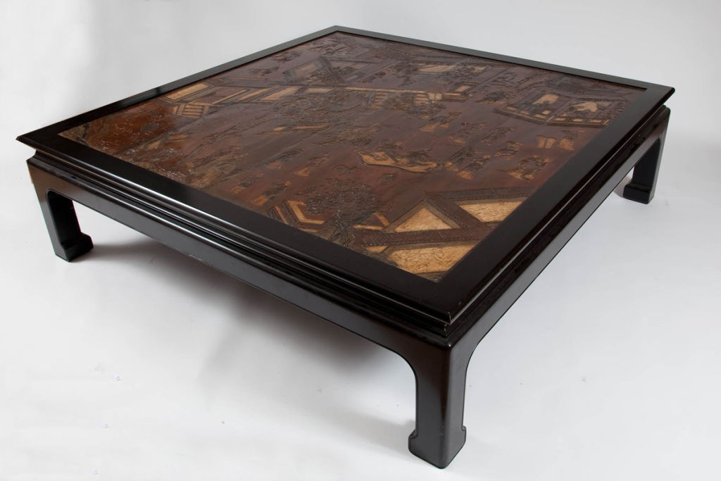 Wood coffee table with chinese coromandel made top the