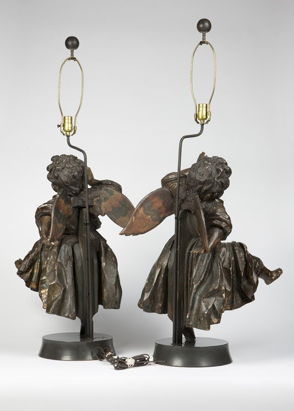 pair of 17c. Italian baroque  painted and carved wood Angels (2)