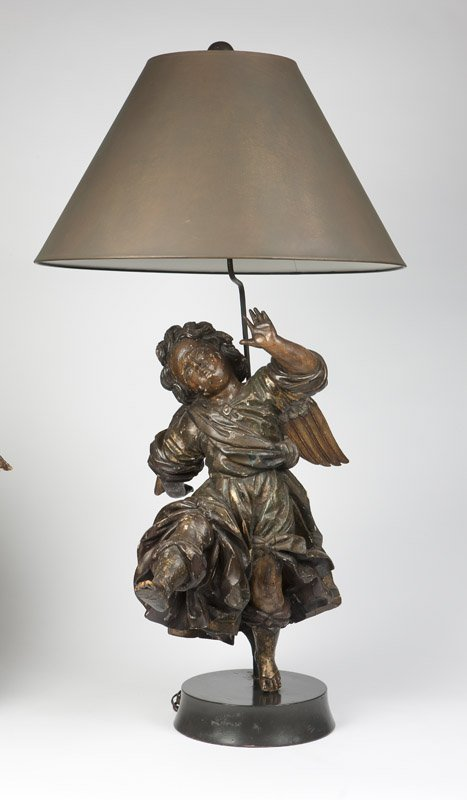 pair of 17c. Italian baroque  painted and carved wood Angels (3)