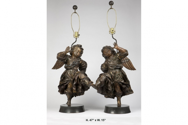 pair of 17c. Italian baroque  painted and carved wood Angels