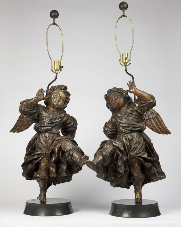 pair of 17c. Italian baroque  painted and carved wood Angelsc