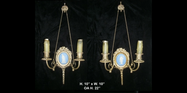 Pair Antique silvered Bronze and Wedgewood sconces