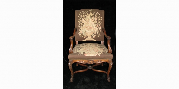 Set of 12 19c. French LXV style carved walnut dining with tapestry upholstered chairs (2)