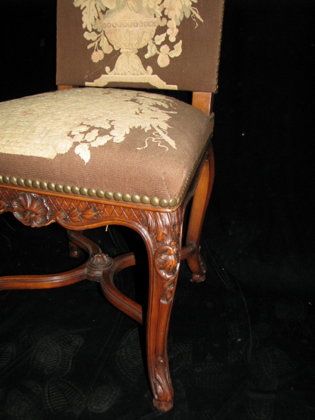 Set of 12 19c. French LXV style carved walnut dining with tapestry upholstered chairs (4)