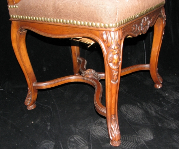 Set of 12 19c. French LXV style carved walnut dining with tapestry upholstered chairs (6)