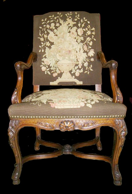 Set of 12 19c. French LXV style carved walnut dining with tapestry upholstered chairs