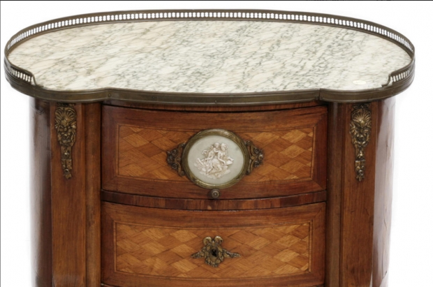 19c French transitional style parquetry side table with wedgewood porcelain plaque (1)