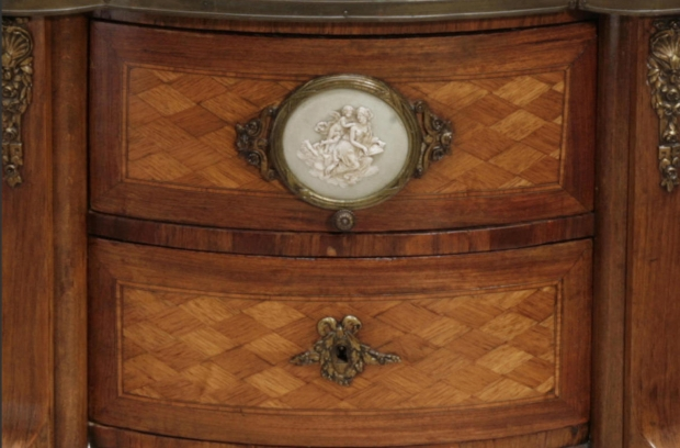 19c French transitional style parquetry side table with wedgewood porcelain plaque (2)