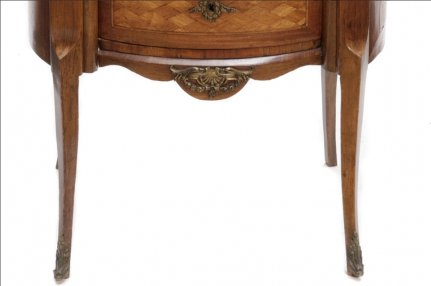 19c French transitional style parquetry side table with wedgewood porcelain plaque (3)
