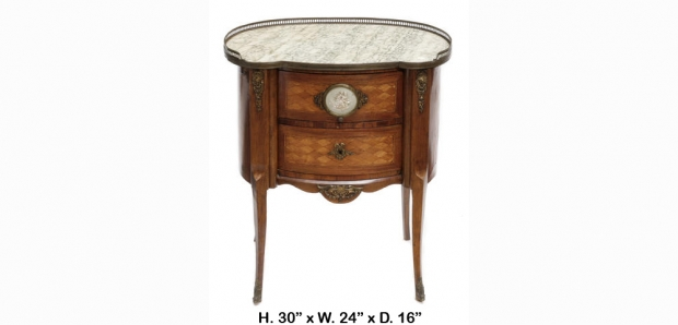 19c French transitional style parquetry side table with wedgewood porcelain plaque