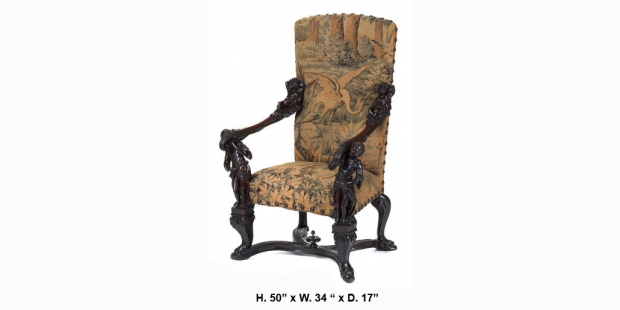 19c Italian Baroque style carved walnut figural armchair