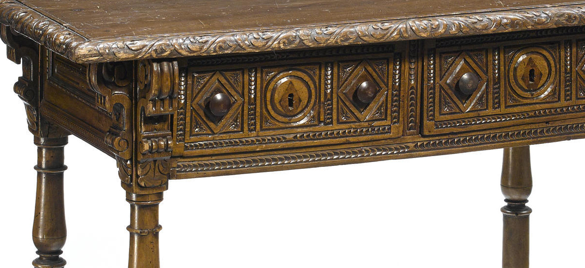 19 century spanish baroque style carved walnut library for Spanish baroque furniture