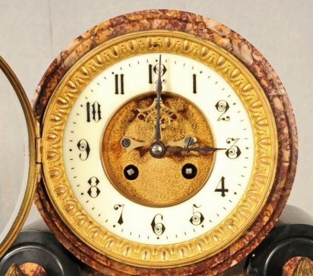 Antique French Inlaid black marble 3 piece clock garniture (1)