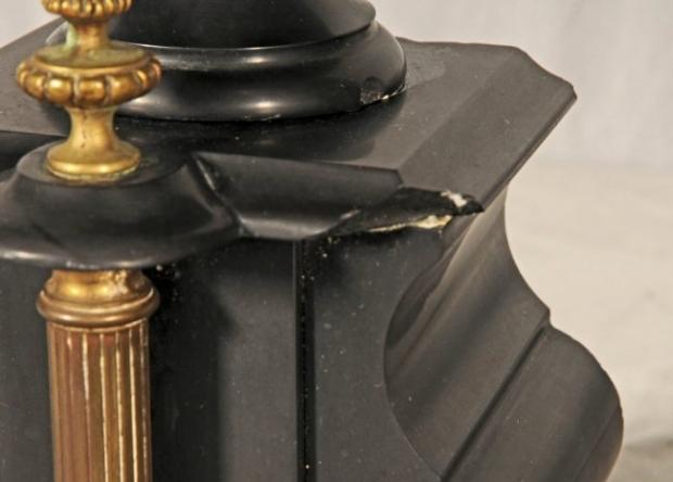 Antique French Inlaid black marble 3 piece clock garniture (2)