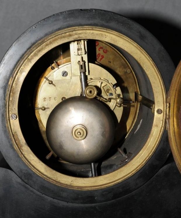 Antique French Inlaid black marble 3 piece clock garniture (4)