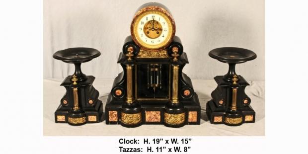 Antique French Inlaid black marble 3 piece clock garniture