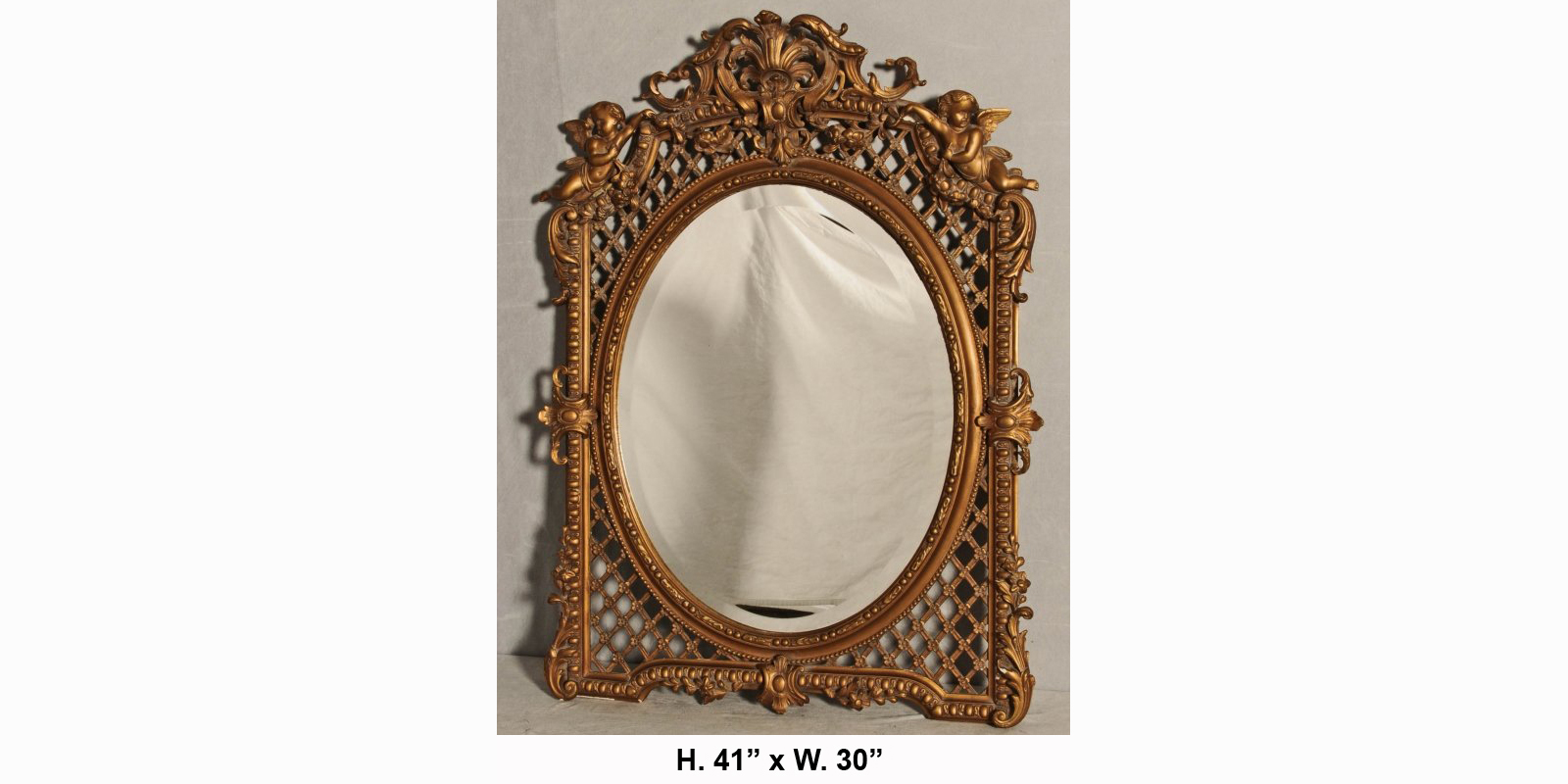 Antique french louis xv style gilt figural mirror with for Antique french mirror