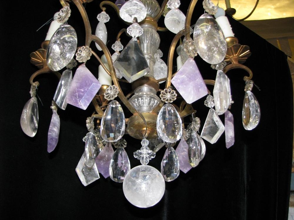 CH04 Antique Louis XV Style Rock Crystal Amethyst Quartz