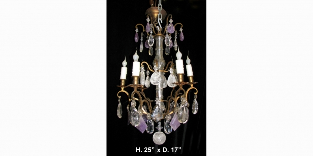 Ch04 antique louis xv style rock crystal amethyst quartz and cut antique louis xv style rc amethyst quartz and cut crystal bronze 6l chandelier aloadofball Image collections