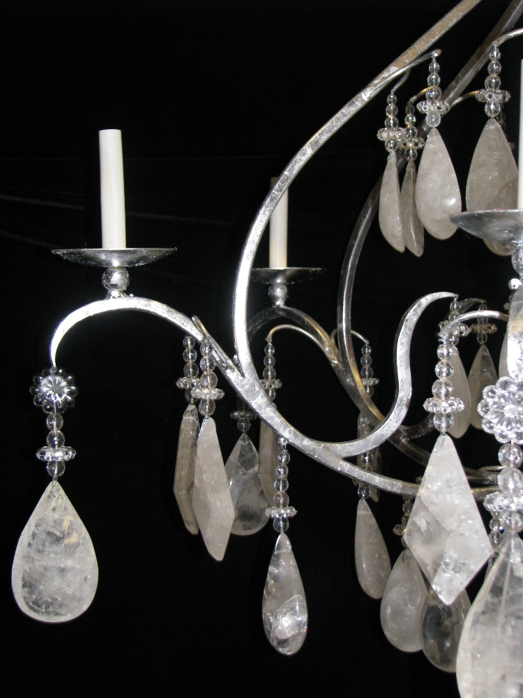 Ch02 Large All Rock Crystal Silver Leafed Hand Forged Wrought Iron 6 Light Chandelier
