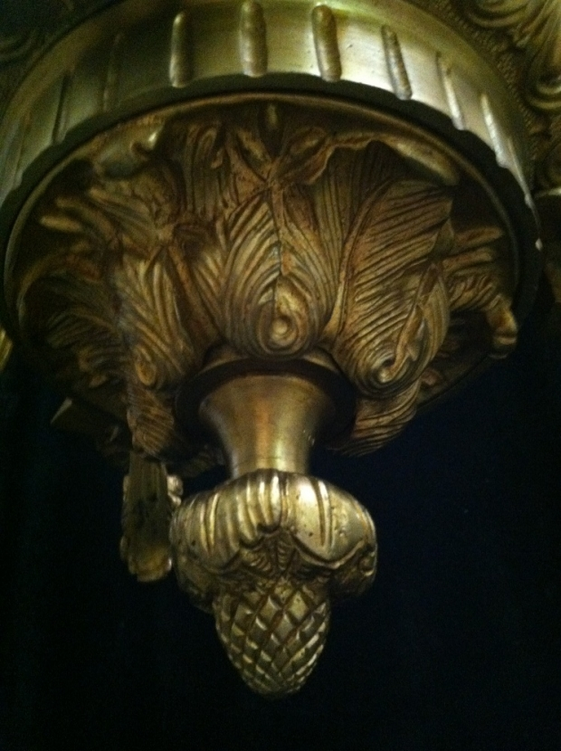 CH12  Antique French gilt bronze 6 chandelier with swags (5)