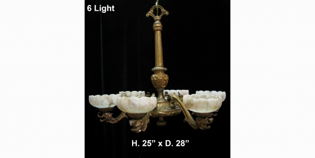 CH13  19c Italian gilt bronze and alabaster 6 light chandelier