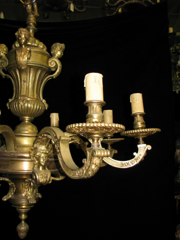 CH14  Fine 19c French Regence gilt bronze 6 light chandelier with  children and woman masks (3)