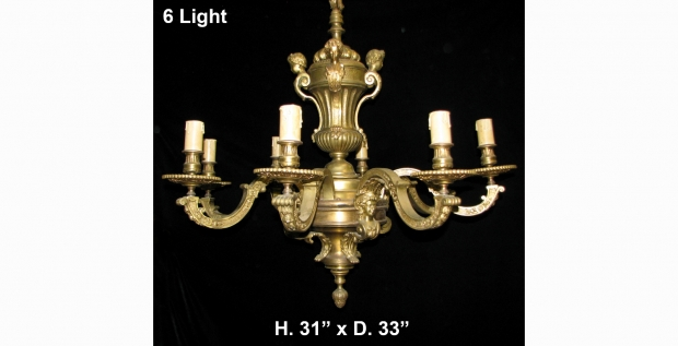 CH14  Fine 19c French Regence gilt bronze 6 light chandelier with  children and woman masks