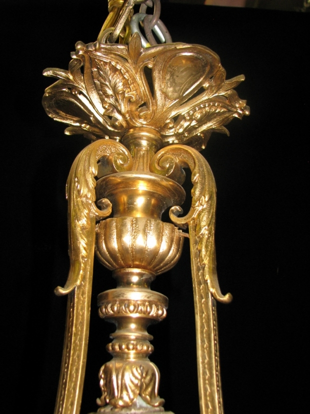 CH27  Fine 19c French ormolu figural 3 light chandelier with frosted glass shades (1)