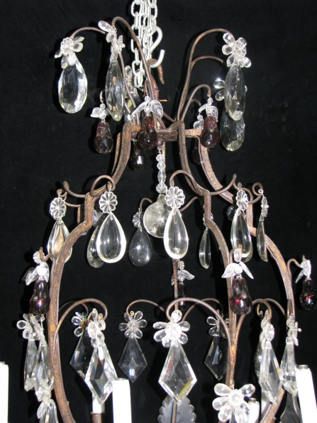 CH28  Unusual 19c Spanish Cut Crystal mounted bronze 11 light chandelier (1)