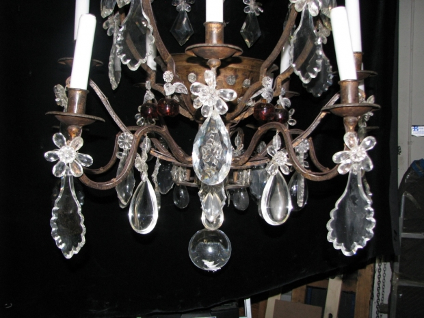 CH28  Unusual 19c Spanish Cut Crystal mounted bronze 11 light chandelier (2)