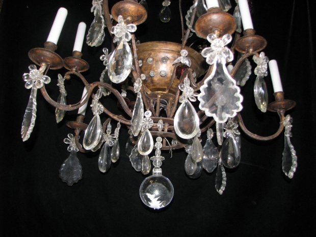 CH28  Unusual 19c Spanish Cut Crystal mounted bronze 11 light chandelier (4)