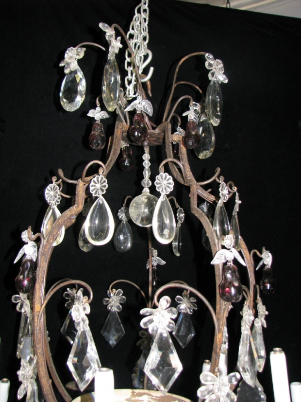 CH28  Unusual 19c Spanish Cut Crystal mounted bronze 11 light chandelier (6)