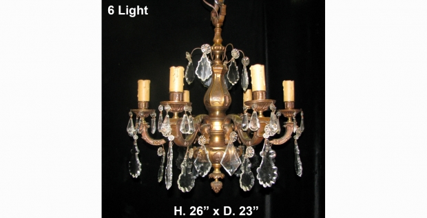 CH30 Antique French Regence style bronze 6 light chandelier