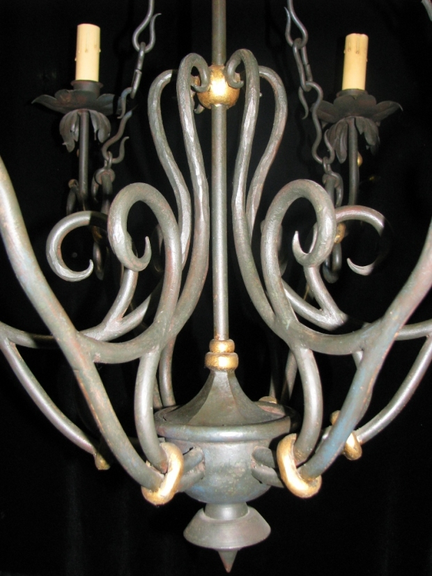 CH31 Impressive Art Nevo style hand forged wrought iron 6 light chandelier (1)