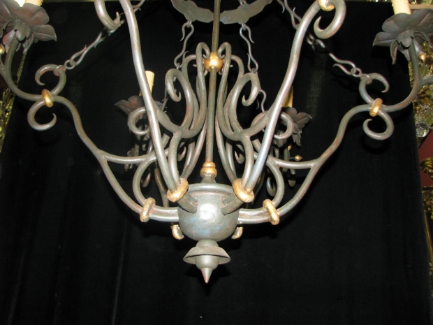 CH31 Impressive Art Nevo style hand forged wrought iron 6 light chandelier (4)