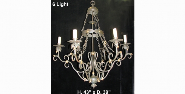 CH31 Impressive Art Nevo style hand forged wrought iron 6 light chandelier