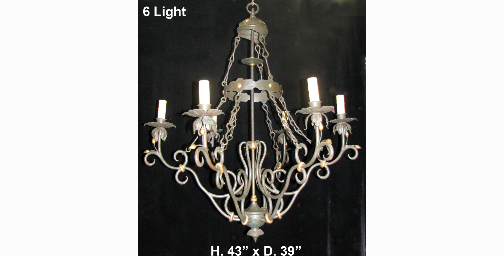 Ch31 impressive art nouveau style hand forged wrought iron 6 light ch31 impressive arubaitofo Image collections