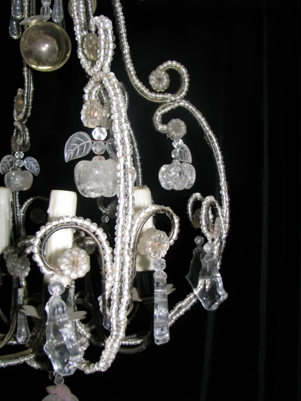 CH32  Small Venetian crystal beaded 6 light chandelier Mid20C (1)