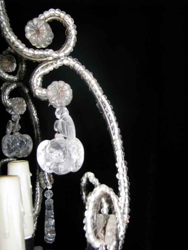 CH32  Small Venetian crystal beaded 6 light chandelier Mid20C (3)