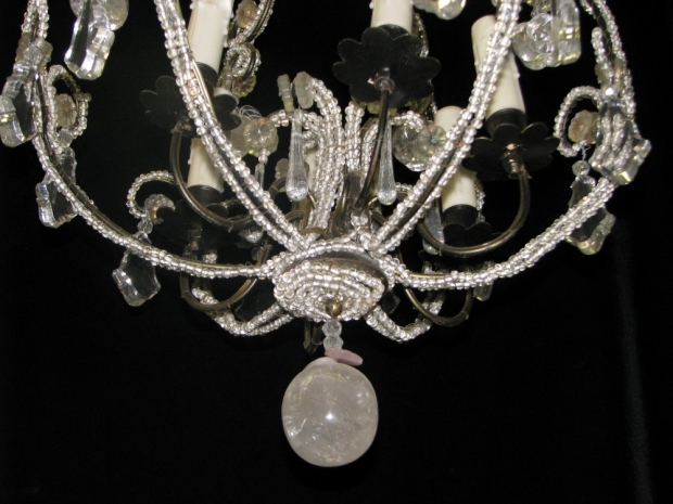 CH32  Small Venetian crystal beaded 6 light chandelier Mid20C (6)