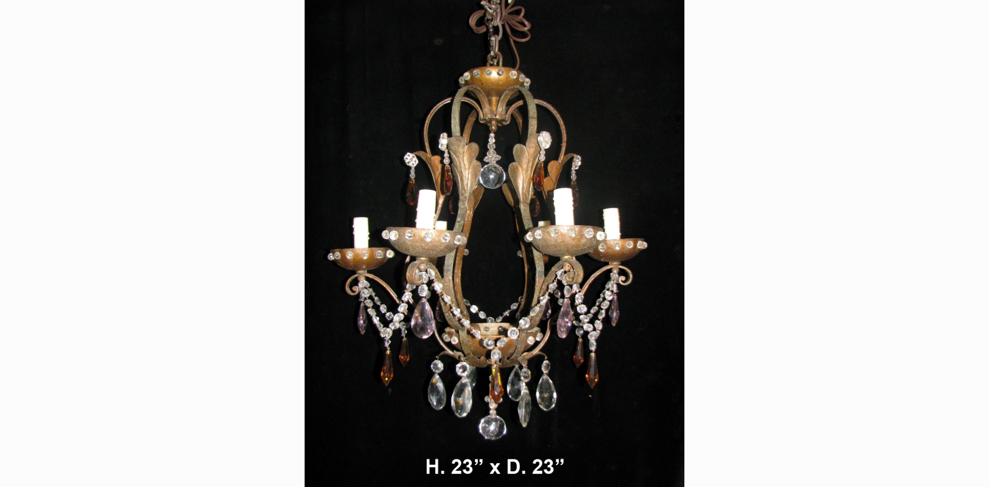 CH39 Antique Spanish Colored Crystal and Hand Forged Wrought Iron