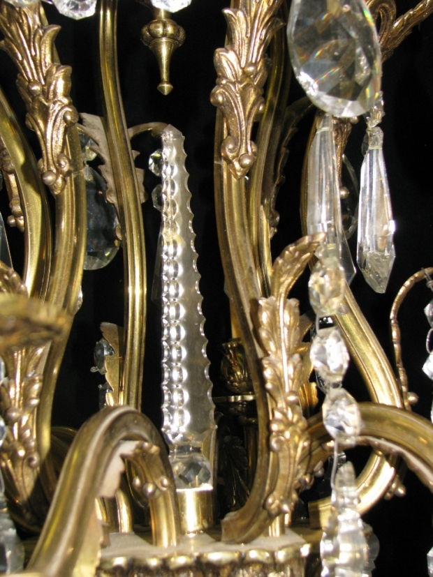 CH93 French cut crystal and gilt bronze 6 light chandelier (2)