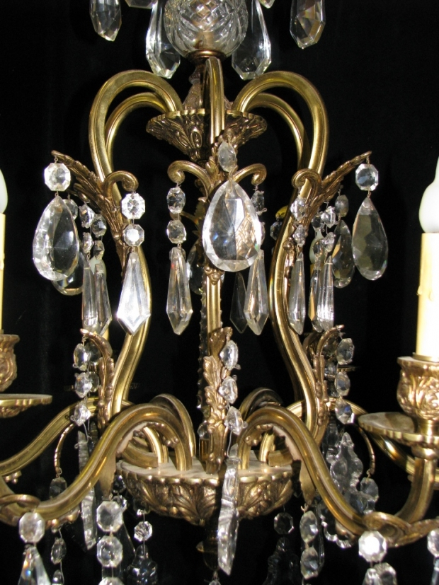 CH93 French cut crystal and gilt bronze 6 light chandelier (3)