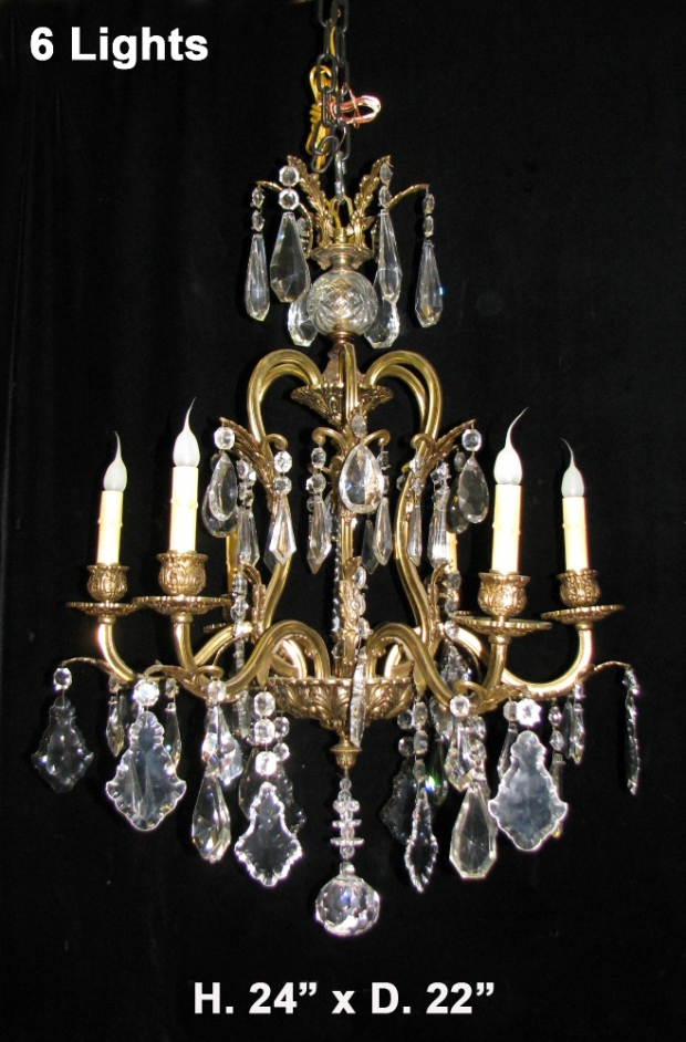 CH93 French cut crystal and gilt bronze 6 light chandelier