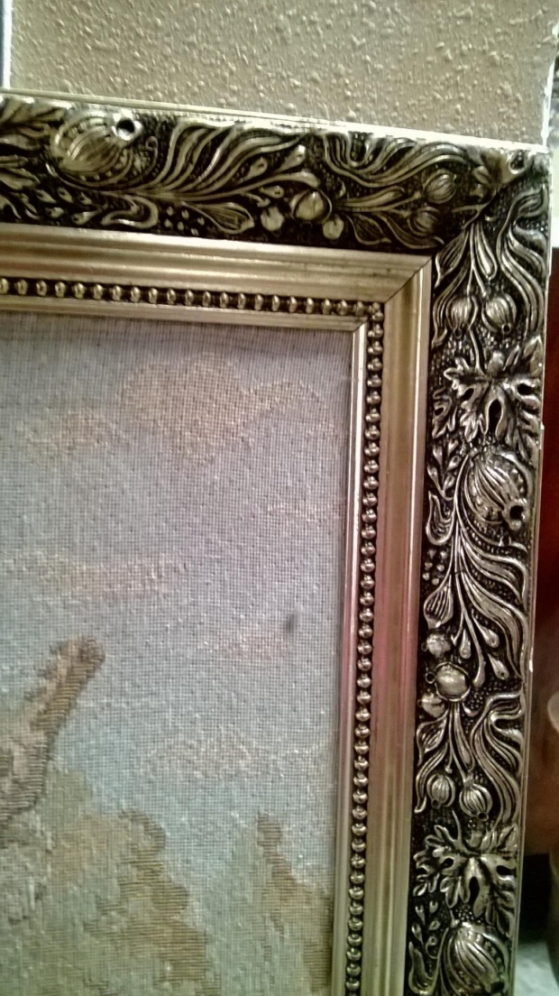TAP-2200  Mid 20c French Machine made tapestry of romantic garden scene (1)