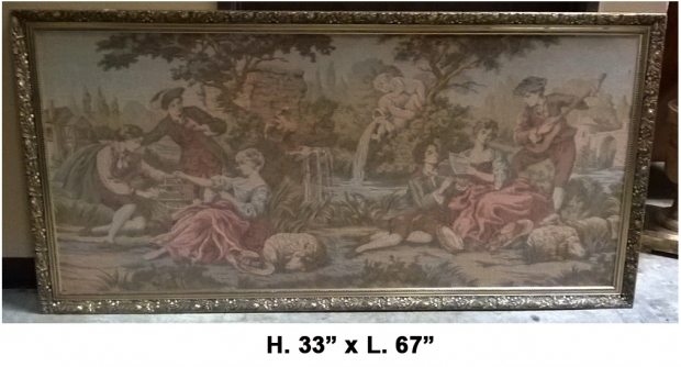 TAP-2200  Mid 20c French Machine made tapestry of romantic garden scene (2)