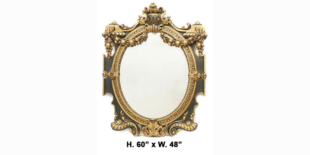 Fine 19 century italian baroque style parcel gilt and for Baroque oval mirror