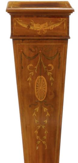 Fine Edwardian inlaid Satinwood pedestal (1)