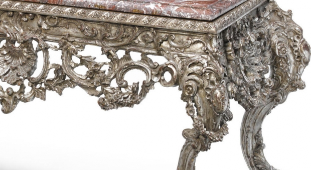Impressive Large French Regence style carved silvered wood console (1)